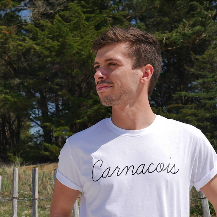 T-shirt homme blanc Carnacois zoom